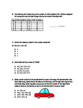 Math Review Sheet-Mean, Median, Mode, Range, Decimals