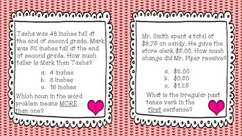 Math Review Task Cards (With an ELA Twist)