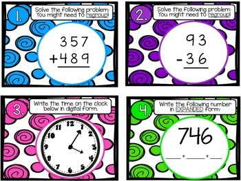 Math Review Task Cards