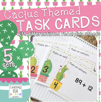 Math Review Task Cards - Cactus Theme!