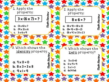 Math Review Task Cards QR Codes