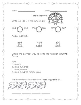 Math Review Task Cards with recording page AND Student Practice Pages