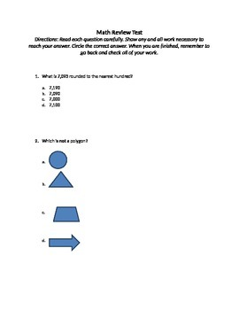 Math Review Test