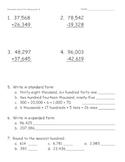 Math Review Test for Beginning Grade 4