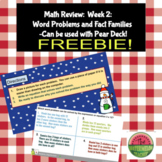 Math Review:  Week 2:  Word Problems and Fact Families
