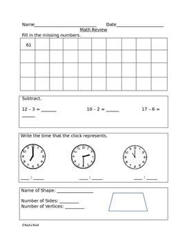 Math Review-Week 25