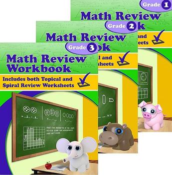 Math Review Workbook Grades 1-3 Bundle