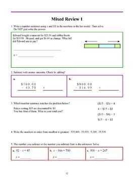 Math Review Workbook Grades 4-7 Bundle