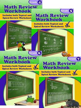 Math Review Workbook Grades 4-7 Bundle