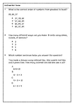 100 Math Problems for Summer Review 3rd Grade Common Core
