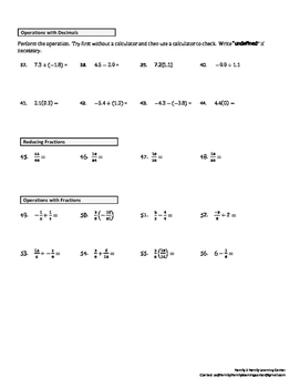 Math Review Worksheet #1