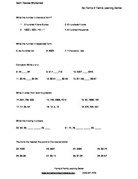 Math Review Worksheet