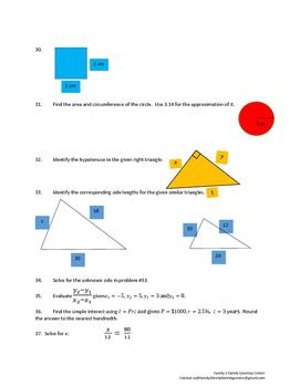Math Review Worksheet #8