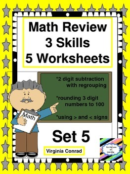 Math Review Worksheets:  3 Skills For 5 Days--Set 5