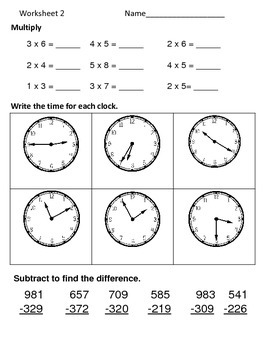 Math Review Worksheets:  3 Skills for 5 Days--Set 8