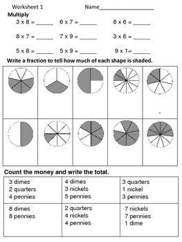 Math Review Worksheets:  3 for 5 Days--Set 11