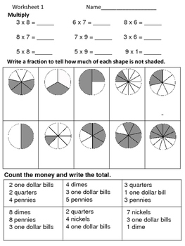 Math Review Worksheets:  3 for 5 Days--Set 12