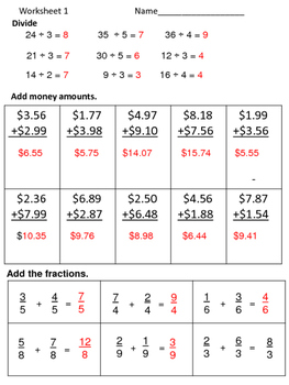 Math Review Worksheets:  3 for 5 Days--Set 13