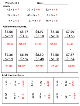 Math Review Worksheets:  3 for 5 Days--Set 14