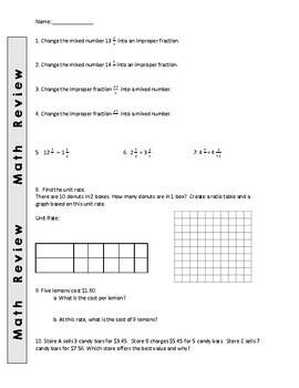 Math Review Worksheets - 6th Grade
