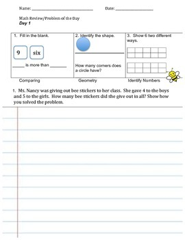 Math Review and Problem of the Day (Week 1) CCSS aligned!