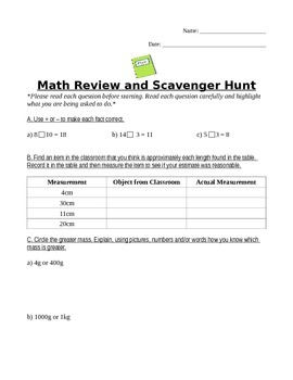 Math Review and Scavenger Hunt