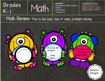 Math Review: time to the hour, greater than/less than problem solving, tens/ones