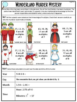 Math Revision Mini Murder Mystery (Wonderland)