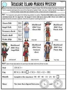 Math Revision Mini Murder Mystery (pirate theme)