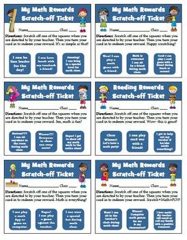 Math Rewards Scratch-off Tickets