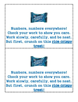 Math Rice Crispy Test Encouragement