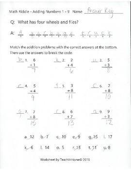 Math Riddle - Adding Numbers 1 to 9 - Fun Math