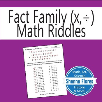 Math Riddle - Multiplication/Division Fact Families - Fun Math