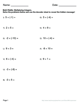 Math Riddle: Multiplying Integers