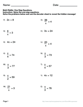 Math Riddle: One Step Equat... by WhooperSwan | Teachers Pay Teachers