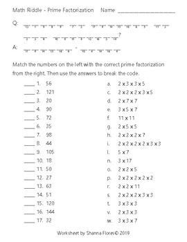 Math Riddle - Prime Factorization - Fun Math - Multiplication by ...