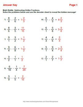 Math Riddle: Subtracting Unlike Fractions