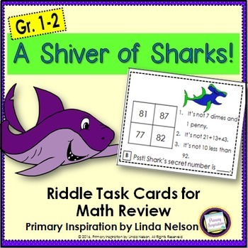 Math Riddle Task Cards for Two-Digit Numbers ~ Sharks!