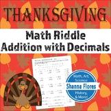Math Riddle - Thanksgiving - Addition with Decimals - Fun Math