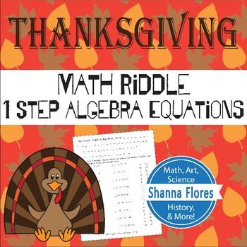 Math Riddle - Thanksgiving - One Step Algebraic Equations - Fun Math