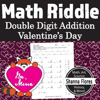 Math Riddle - Valentine's Day - Double Digit Addition Worksheet - Fun Math