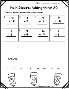 Math Riddles: Adding and Subtracting within 20