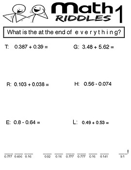 Math Riddles - Decimal Operations -