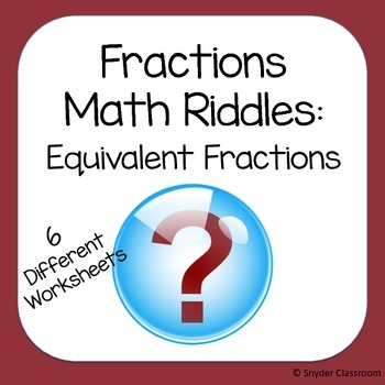Equivalent Fractions Math Riddles Bundle