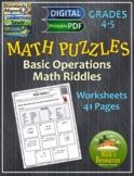 Math Puzzles Basic Operations Riddles - Print and Digital