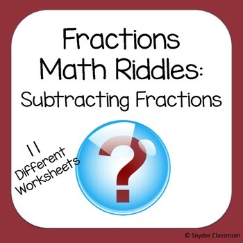 Subtracting Fractions Math Riddles