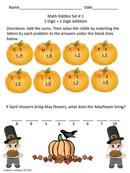 Fall Math Riddles for 1st-3rd (Addition)