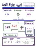 Math Right Now Fractions Decimals Percents