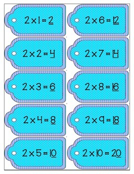 Math Multiplication Ringed Facts Tags - Teal
