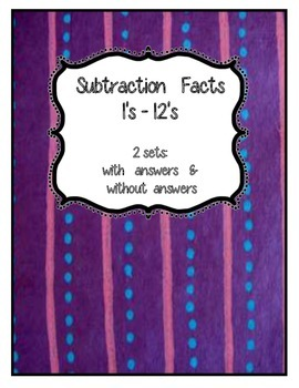 Math Subtraction Ringed Facts Tags